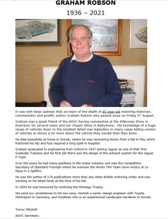 Graham Robson 1936 - 2021