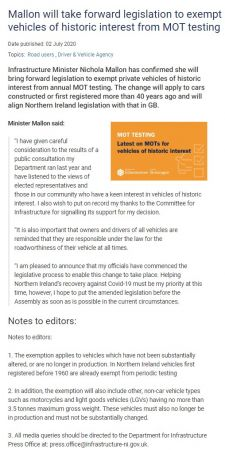 Press Release from Department of Infrastructure re exemption from MOT for Historic Vehicles